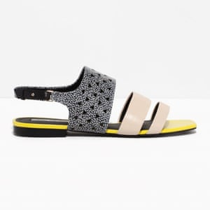 50 best flat sandals 2015 - black, white and nude patterned flat with black and yellow sole by & Other Stories
