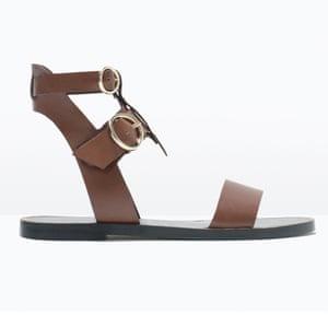 60638b1a123de0 50 best flat sandals 2015 - brown simple Roman style ankle strap sandal by  Zara