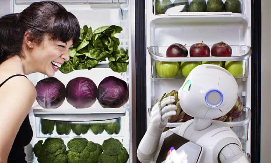 robot in front of fridge