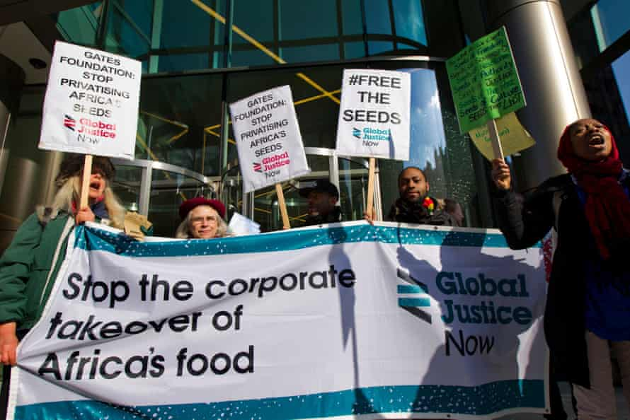 Food sovereignty activists protest outside a secret elite corporate seed conference convened by the Bill and Melinda Gates Foundation (BMGF) and the United States Agency for International Development (USAID) in London