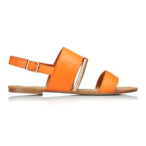 50 best flat sandals 2015 - orange with gold buckle and brown flat sole by Kurt Geiger