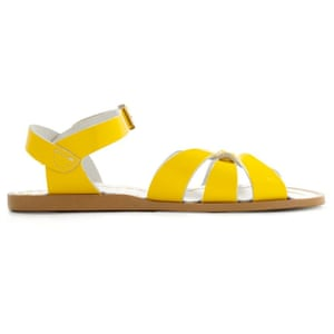 50 best flat sandals 2015 - bright patent yellow with flat brown sole by Salt-water Sandals