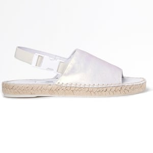 50 best flat sandals 2015 - pearlescent sling back espadrille flats with white safety buckle fastening on ankle by Miista