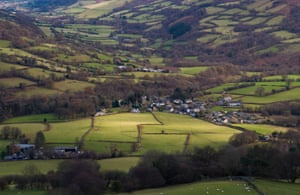 View over village of Llanbedr in the Grwyne valley, Wales.