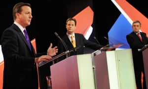 David Cameron, Nick Clegg and Gordon Brown during a live leaders' election debate in 2010.