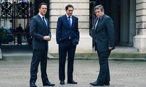 L-R Mark Dexter as David Cameron, Bertie Carvel as Nick Clegg and Ian Grieve as Gordon Brown in the Channel 4 drama Coalition