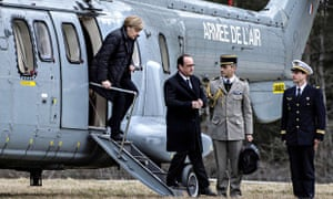 French President Francois Hollande and German Chancellor Angela Merkel at the Germanwings crash site