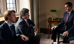 Mark Gatiss as Peter Mandelson, Ian Grieve as Gordon Brown and Bertie Carvel as Nick Clegg in Coalition.