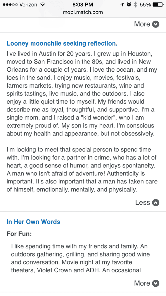 in my own words match