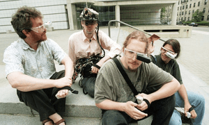 Alex 'Sandy' Pentland and three students outside the MIT Media Lab