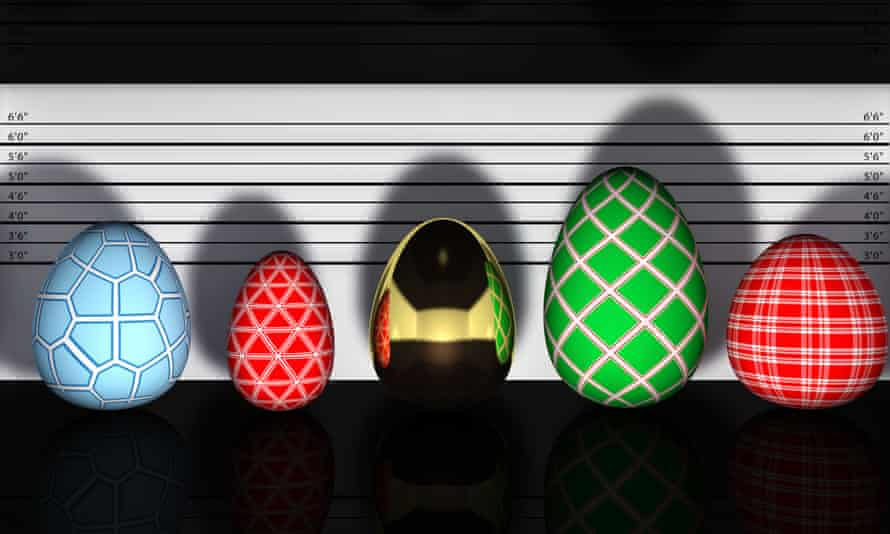 Multicolored easter eggs in a police lineup