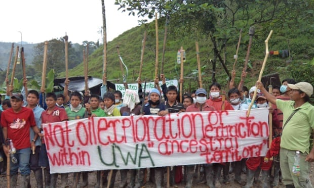 U'was in north-east Colombia protesting against operations by state oil and gas company Ecopetrol.