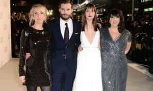 Who has whiphand? Sam Taylor-Johnson, Jamie Dornan, Dakota Johnson and EL James at the UK premiere of the film.
