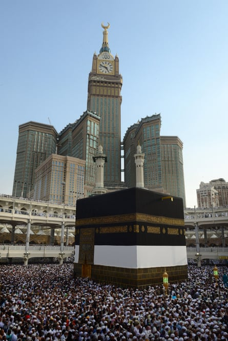 Islam's holiest shrine, the Kaaba and The Abraj al-Bait Towers (Mecca Royal Hotel Clock Tower) in Saudi Arabia. Photograph: Anadolu Agency/Getty Images