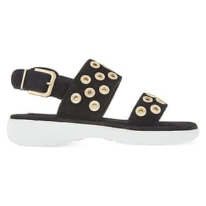 fd2f42b17b1f 50 best flat sandals 2015 -black sporty style suede sandals with all over  gold studs