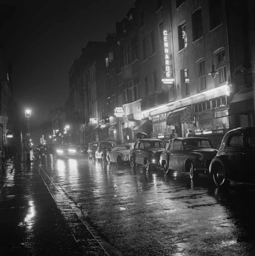 A view down Dean Street, Soho, London, August 1955.