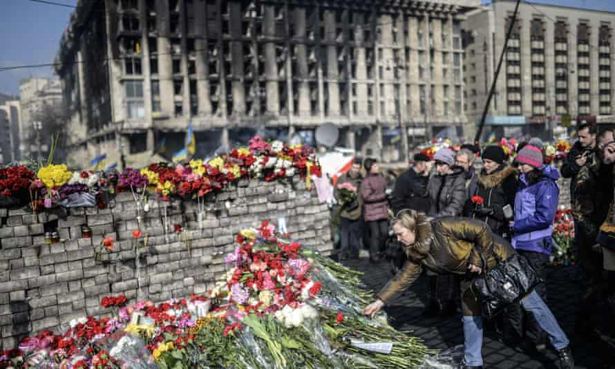 Makeshift memorial to Maidan protesters killed during clashes with police that overthrew the government in Ukraine.