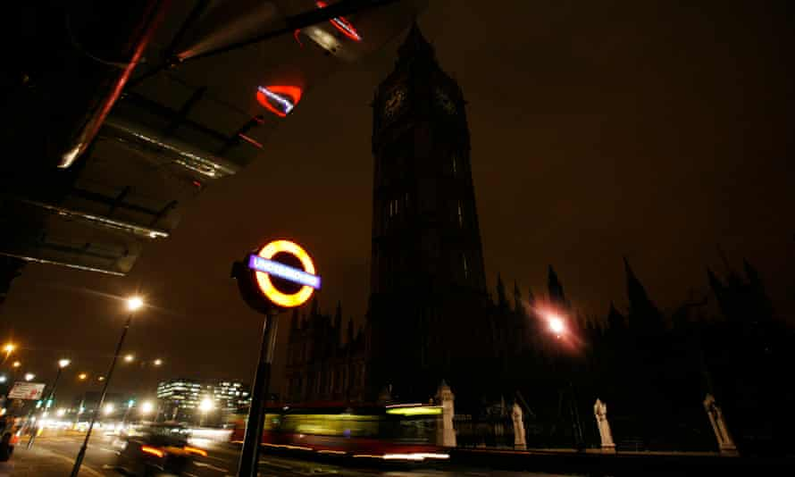 The Houses of Parliament during Earth hour.
