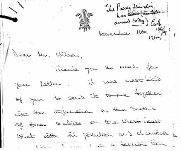 Letters written to Harold Wilson from Prince Charles in 1969.