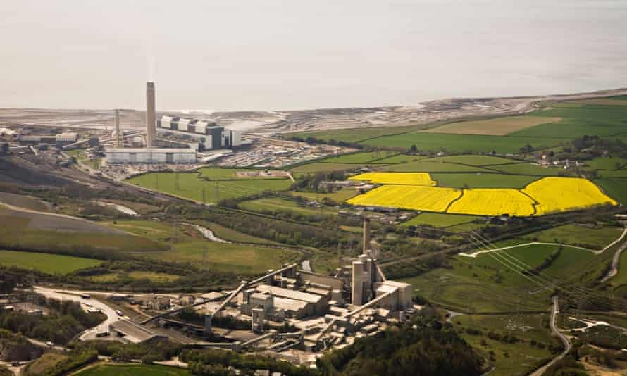 Aberthaw power station with cement works in foreground