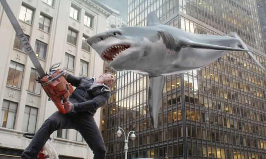a scene from Sharknado 2.