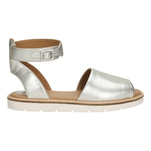 50 best flat sandals 2015 - silver leather peeptoe with ankle strap and white sole by Clarks