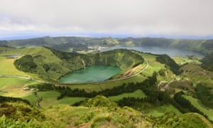 The volcanic, yet green, landscape of the Azores on show at Sete Cidades, São Miguel.