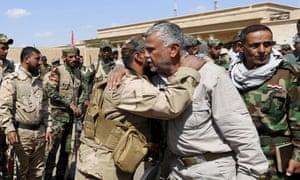 Shia militia leader Hadi al-Amiri visits Ouja, on the southern outskirts of Tikrit