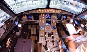 The interior of the cockpit of the crashed Germanwings A320 aircraft with the identification number D-AIPX at the airport in Dusseldorf, Germany before it crashed in France.