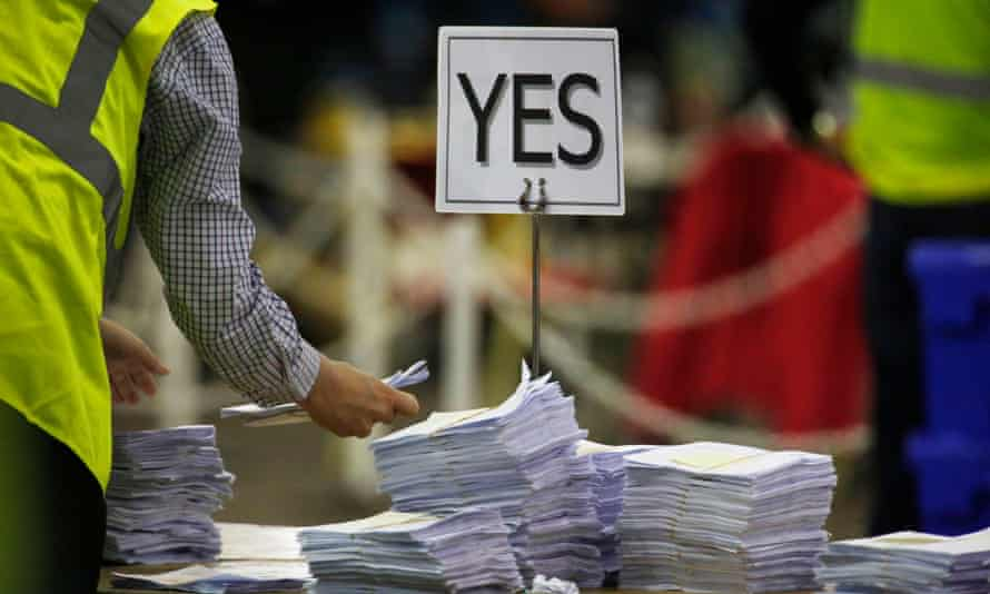 Ballots are counted at the Edinburgh Referendum Count at Ingliston