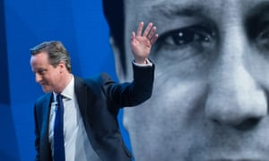 David Cameron leaves his live televised interview with Jeremy Paxman.
