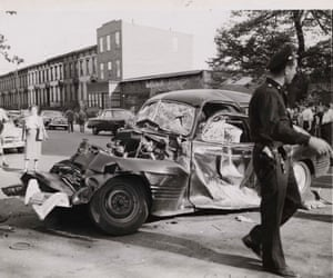 Car and truck collision in Brooklyn's Stuyvesant Avenue, 1947