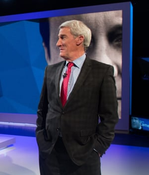 Jeremy Paxman during the filming of Cameron & Miliband: The Battle For Number 10