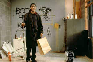 Jean-Michel Basquiat on the set of Downtown 81, 1980-81