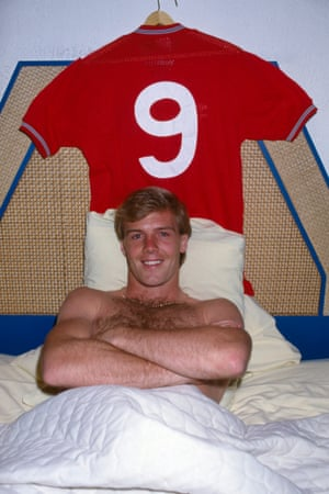 Kerry Dixon proudly displays his England shirt in his hotel room after scoring two goals against West Germany in the International friendly at the Aztec Stadium in Mexico City