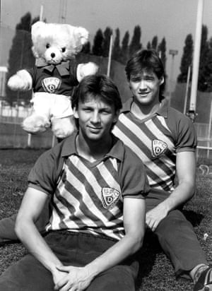 BFC Dynamo's Mario Maek, rear, with team mate and a rather angry looking Teddy Bear mascot