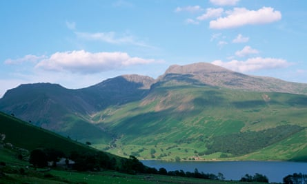 Scafell Pike above Wastwater lake, Cumbria