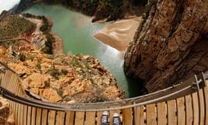 A view from the boardwalk of the new Caminito del Rey path in El Chorro, near Malaga.