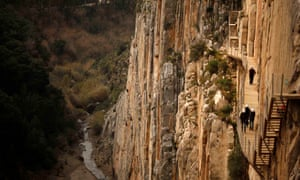 The new pathway clings to the rock face. Caminito del Rey, Malaga
