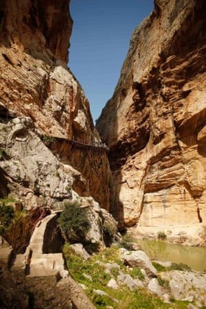 A view from the valley floor. Caminito del Rey, Malaga, Spain