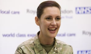 Corporal Anna Cross speaks at a press conference at the Royal Free hospital in London