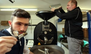 Gordon James, right, and his son Scott at work at Coaltown coffee roastery in Ammanford, Carmarthenshire.