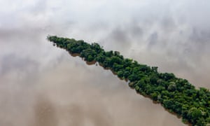 Para, Brazil. February 11, 2012. Aerials south of Santarem and along the road BR163. Rainforest in the Tapaj s River,