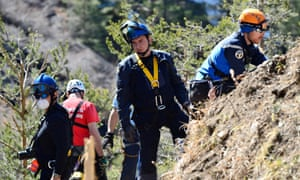 Gendarmes, forensics and rescuers working at the crash site of the Germanwings Airbus A320 near Le Vernet, French Alps.