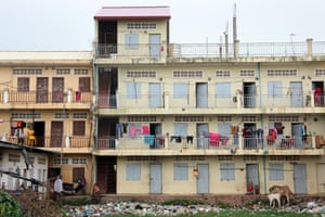 Accommodations of the textile workers in the industrial area Pochentong in Phnom Penh, Cambodia