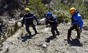 Rescuers from the Gendarmerie High-Mountain Rescue Group working at the crash site of the Germanwings Airbus A320 near Le Vernet, French Alps.