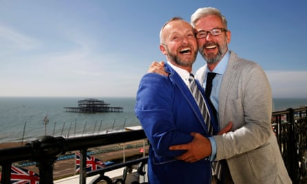 Andrew Wale and Neil Allard after marrying, in Brighton in 2014, in the first legal same-sex wedding in Britain.