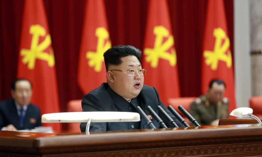 North Korean leader Kim Jong-un at a meeting of the political bureau of the central committee of the Workers' Party of Korea.