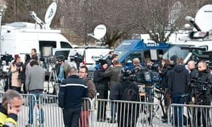 Journalists near the Airbus crash site