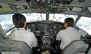Pilots in mid-flight.
